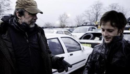 Olivier Marchal et Nicolas Duvauchelle sur le tournage de la série Braquo